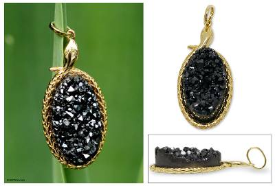 Brazilian drusy agate pendant, 'Black Amazon Serpent' - Gold Plated Drusy Snake Pendant