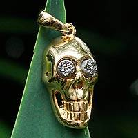 Brazilian drusy agate pendant, 'Smiling Skull' - Gold Plated Drusy Pendant