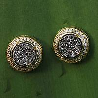 Brazilian drusy agate button earrings, 'Moon Shadow' - Hand Crafted Gold Plated Button Druzy Earrings