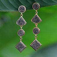 Brazilian drusy agate dangle earrings, 'Waterfall' - Brazilian drusy agate dangle earrings