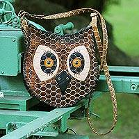 Leather shoulder bag, 'Amazon Owl'