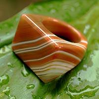 Enhanced agate cocktail ring, 'Caramel Sunset'