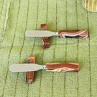 Agate spreader knives and rests, 'Swirling Brown Deli' (pair) - Artisan Crafted Agate Spreader Knives with Rests