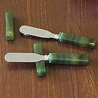 Agate spreader knives and rests, 'Fresh Green Deli' (pair) - Agate Spreader Knives and Rests