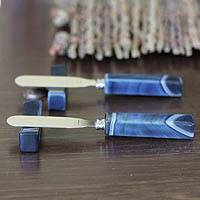 Agate spreader knives and rests, 'Sapphire Blue Deli' (pair) - Pair of Handcrafted Agate Spreader Knives