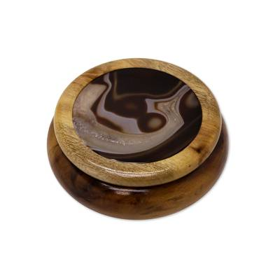 Cedar and agate jewelry box, 'Brown Universe' - Cedar and Brazilian Agate Small Round Jewelry Box