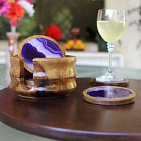 Cedar and agate coasters, 'Purple Cosmos' (set of 6) - Handcrafted Stone Cedarwood Coasters (Set of 6) with Holder