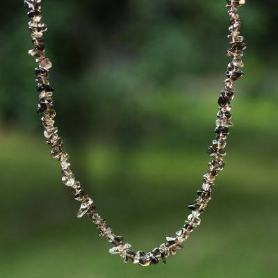 Smoky quartz long beaded necklace, 'Brazilian Mystique' - Hand Crafted Beaded Smoky Quartz Long Necklace