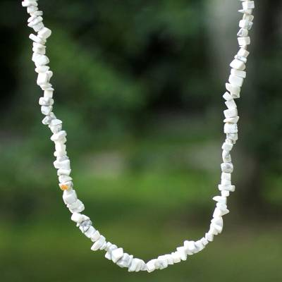 Howlite long beaded necklace, 'Brazilian Cloud' - Hand Made Long Beaded Howlite Necklace