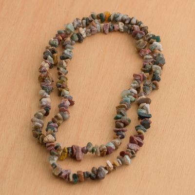 Jasper long beaded necklace, 'Brazilian Colors' - Beaded Jasper Necklace