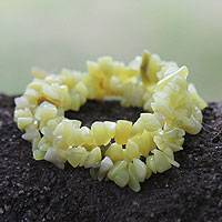 Jade stretch bracelets, 'Sunny Forest' (set of 3) - Stretch Jade Bracelets (Set of 3)