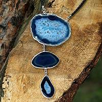 Agate Y necklace, 'Sea Blue Mystique'