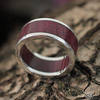 Men's wood and silver ring, 'Forest Road'