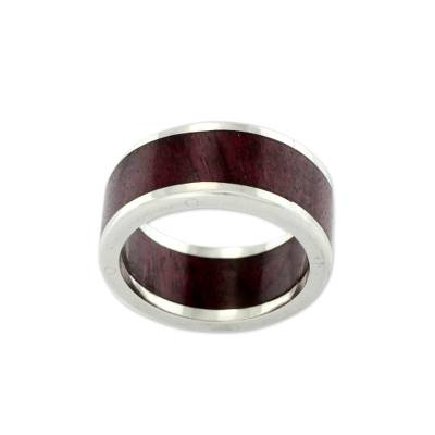 Men's wood and silver ring, 'Forest Road' - Men's wood and 950 silver band ring