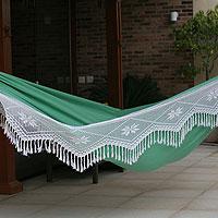 Cotton hammock, 'Emerald Icarai Hills' (double) - Handcrafted Fair Trade Brazilian Cotton and Crochet Hammock