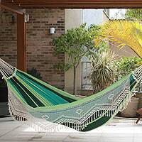 Cotton hammock, 'Peaceful' (single) - Green Striped Cotton Hammock with Fringe (Single)