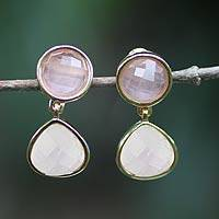 Gold plated rose quartz and amethyst dangle earrings, 'Equilibrium' - Handcrafted Rose Quartz Amethyst Earrings Gold Plated