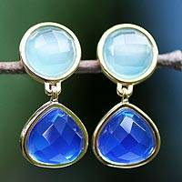 Gold plated dangle earrings, 'Blue Equilibrium' - Gold plated dangle earrings