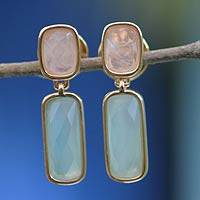 Gold plated rose quartz dangle earrings, 'Brazilian Spirit' - Goldplated rose quartz dangle earrings