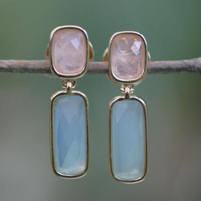 Gold plated rose quartz dangle earrings, 'Brazilian Spirit' - Goldplated rose quartz dangle earrings