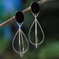 Sterling silver dangle earrings, 'Gotas' - Unique Agate and Sterling Silver Earrings from Brazil