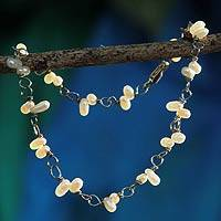 Cultured pearl link bracelet, 'Iemanja's Secret' - Handcrafted Pearl Bracelet with Stelring Silver