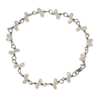 Handcrafted Pearl Bracelet with Stelring Silver