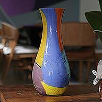 Handblown art glass vase, 'Millennial Colors'