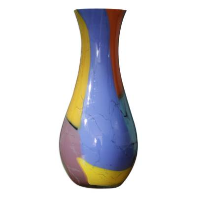 Handblown art glass vase, 'Millennial Colors' - Brazilian Murano Inspired Glass Vase in Tropical Tones