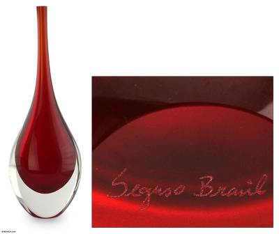Handblown art glass vase, 'Levitating Scarlet' - Red Murano Inspired Art Glass Vase