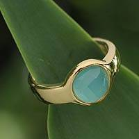 Gold plated solitaire ring, 'Radiant Blue' - Gold plated solitaire ring