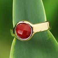 Gold plated ruby solitaire ring, 'Radiant Red' - Ruby Solitaire Ring 2 Cts and 18k Gold Plated