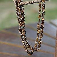 Tiger's eye long beaded necklace, 'Wonders'