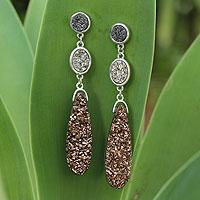Brazilian drusy agate dangle earrings, 'Colorful Trio' - Brazilian Drusy Rhodium Plated Dangle Earrings