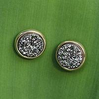Brazilian drusy agate button earrings, 'Day to Dazzle'