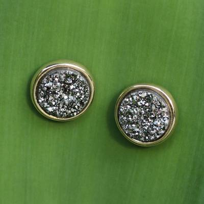 Brazilian drusy agate button earrings, 'Day to Dazzle' - Brazilian Drusy Gold Plated Round Button Earrings