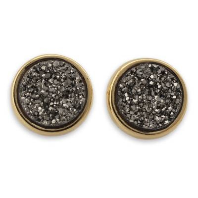Brazilian Drusy Gold Plated Round Button Earrings