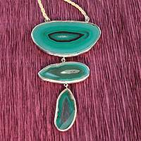 Agate pendant necklace, 'Mystical Lagoons' - Agate Bordered by Sterling Silver on a Leather Necklace