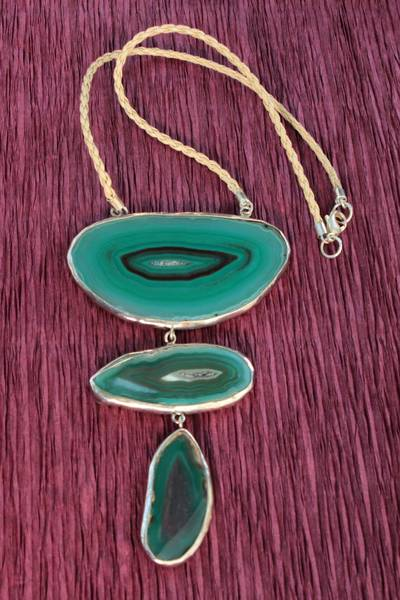 Agate pendant necklace, 'Mystical Lagoons' - Agate and Sterling Silver on Leather Necklace