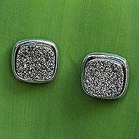 Brazilian drusy agate button earrings, 'Dazzle By Night' - Brazilian Drusy Rhodium Plated Square Earrings