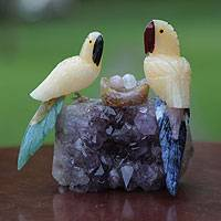 Calcite and amethyst sculpture, 'Macaw Family'