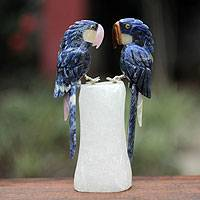 Quartz and sodalite sculpture, 'Blue Macaw Sweethearts'