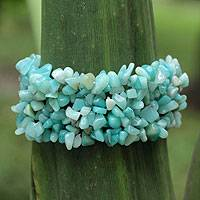 Amazonite stretch bracelet, 'Light of Hope' - Artisan Crafted Amazonite Fair Trade Bracelet