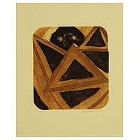 'Brown Triangles' - Signed Original Print Abstract Art