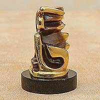 Bronze sculpture, 'Intertwined' - Signed Modern Brazilian Bronze Sculpture