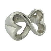 Sterling silver heart ring, 'Infinite Love' - Artisan Crafted Sterling Silver Heart Band Ring
