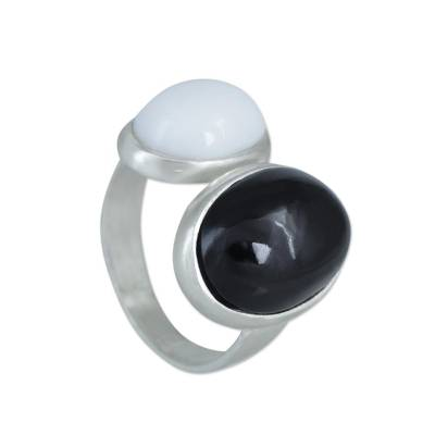 Onyx and agate cocktail ring, 'Opposites Attract' - White Agate and Onyx Sterling Silver Ring