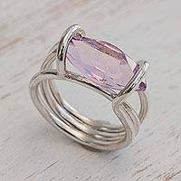 Amethyst cocktail ring, 'Purple Majesty' - Modern Handcrafted Amethyst Single Stone Ring