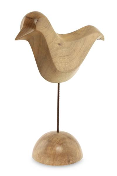 Wood sculpture, 'Dove of Peace' - Signed Brazilian Bird Sculpture
