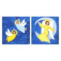 'Angels II' (diptych) - Brazil Fine Art Angel Paintings (Diptych)